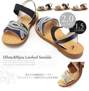 2018 S/S Beads Design Ethnic Sandal Fluffy Insole