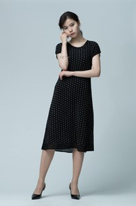 Pleats Chiffon Switching Line Dress