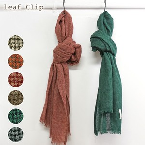 Wool Gauze Houndstooth Stole Heat Retention Natural