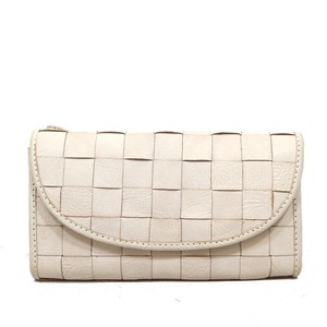 Leather White Mesh Long Wallet