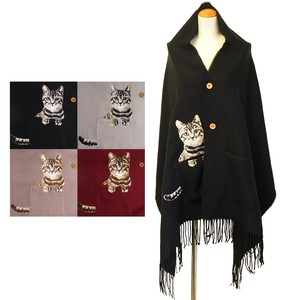 2018 A/W Stole Button Pocket cat Embroidery Poncho Stole