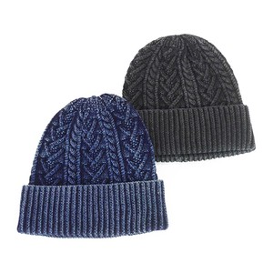 Indigo Dyeing Cable Double Knitted Watch Cap Young Hats & Cap