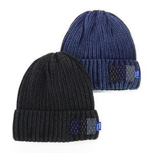 Patch Indigo Dyeing Cotton Knitted Watch Cap Young Hats & Cap