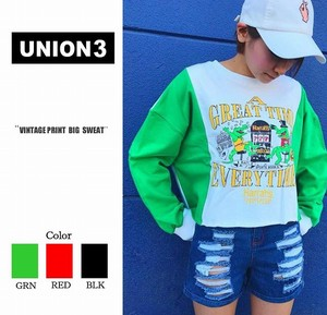 Korea Fashion Bi-Color Print Sweat Sweatshirt