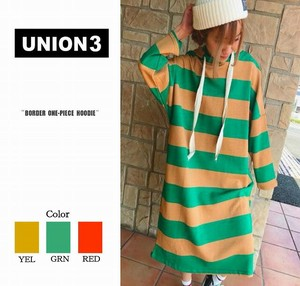 Korea Fashion Border One-piece Dress Sweat Sweatshirt Skirt