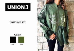 Korea Fashion Print Lace Jacket Blouson Zip‐up Jacket