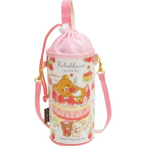Rilakkuma Plastic Bottle Pouch Strawberry Party