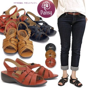 Pansy Sandal Blackstrap Ladies Japanese Pattern Insole Light-Weight Office