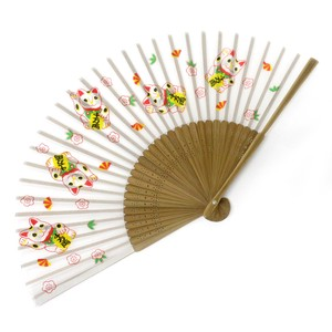 Fashion Accessory Japanese Style Silk Folding Fan Beckoning cat White