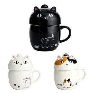 Porcelain 1Pc Neko Sankyodai With Lid Mug 3 Types