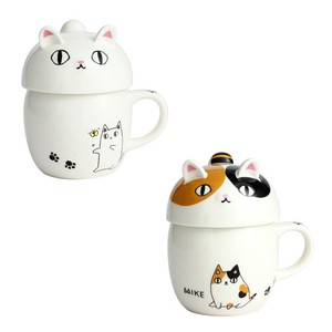 Porcelain 1Pc Neko Sankyodai With Lid Mug 2 type