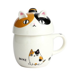 Porcelain 1Pc Neko Sankyodai With Lid Mug