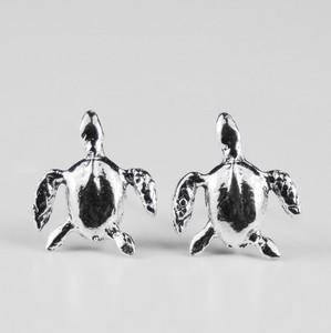 Silver Pierced Earring Sea Turtle
