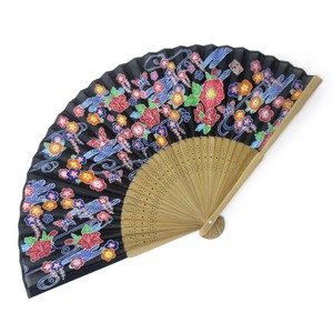 Fashion Accessory Japanese Style Silk Folding Fan Tyura Okinawa Black