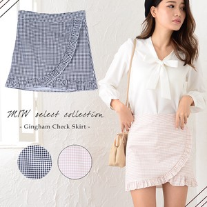 Appreciation Gingham Check Frill Mini Skirt Skirt Short