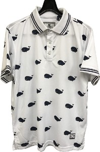 Honeycomb Mesh Whale Repeating Pattern Print Short Sleeve Polo Shirt