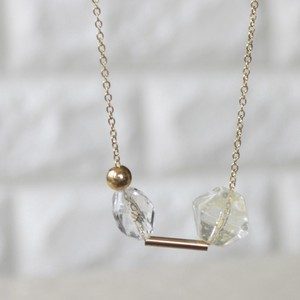 Square Clear Jewel Mix Beads Necklace