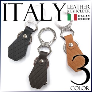 Leather Key Ring Italy Genuine Leather Checkered Pattern Emboss Men's Gift