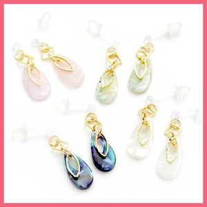 Marble Tear Drop Metal Frame Resin Pierced Earring
