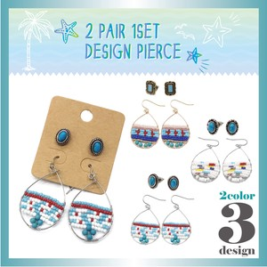 Design Pierced Earring 1 Set Beads Turquoise Resort S/S