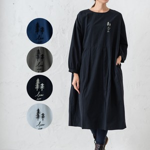 2018 A/W Tuck Embroidery One-piece Dress