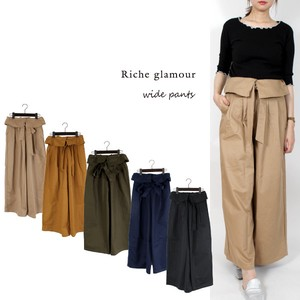 A/W Twill Waist Ribbon wide pants