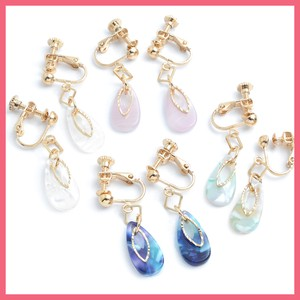 Marble Tear Drop Metal Frame Earring