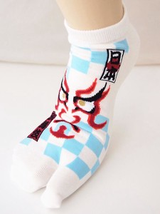 Kumadori Checkered Pattern Ankle Socks Tabi Socks Sneaker