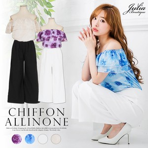 One-piece Dress Off-Shoulder Chiffon Frill Flare Pants All-in-one Pet