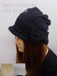 Ribbon Attached lame Casquette Knitted Indoor