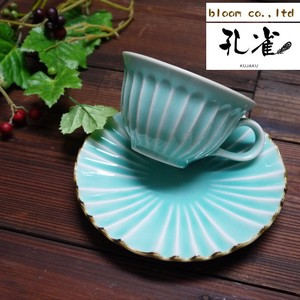 Peacock Plate Turquoise Blue Mino Ware