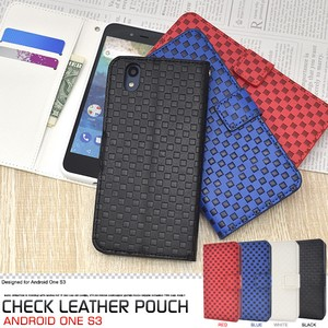 Smartphone Case Checkered Pattern Design Notebook Type Case