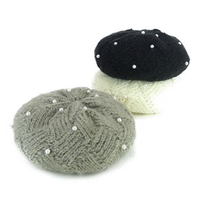 Pearl Knitted Beret Young Hats & Cap