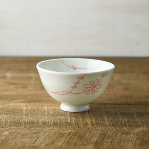 Flower Line Japanese Rice Bowl Red MINO Ware