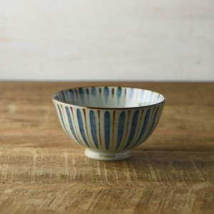 Straw Japanese Rice Bowl Blue MINO Ware