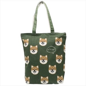 Fashion Accessory Face Zipper Top Canvas Tote Green