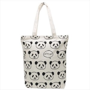 Fashion Accessory Panda Bear Face Zipper Top Canvas Tote Natural
