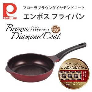 """For gas fire only"" Frying Pan Brown Diamond Coat Emboss Flora Series"