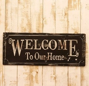 Welcome Signboard Tinplate Wall Deco Plate Iron