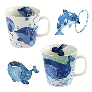Porcelain 1Pc Sea creatures Mug Dolphin Whale