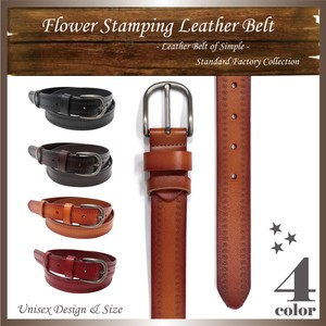 Flower pin Leather Belt Cow Leather Men's Ladies Unisex Full Length