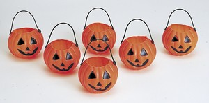 Halloween Pumpkin Candy Pot 6 Pcs Orange
