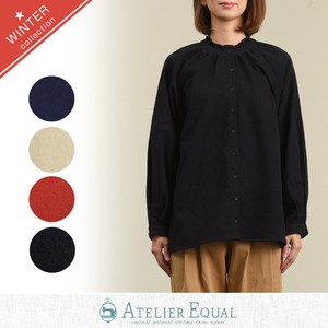 Big Plain Gigging Frill Blouse