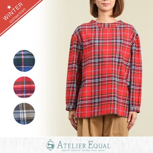 Big Twill Checkered Gigging Behind Blouse