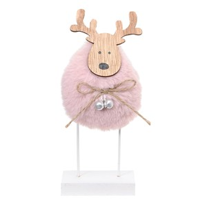 Dear Stand Pink Christmas Reindeer Ornament Display