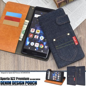 Smartphone Case Xperia XZ Premium Pocket Denim Design Notebook Type Case