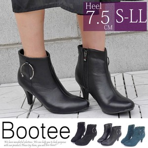 Heel Decoration Ring Zipper Bootie