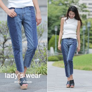 Denim wide pants With Line High-waisted