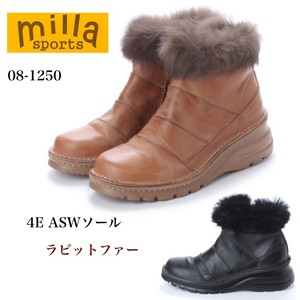 4E Sole Rabbit fur Leather Short Boots