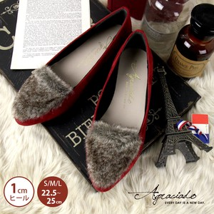 Fur Suede Material Switching Flat Shoes Pumps Heel